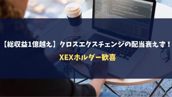 【総収益1億越え】クロスエクスチェンジの配当衰えず!XEXホルダー歓喜