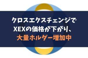 クロスエクスチェンジでXEXの価格が下がり、大量ホルダー増加中
